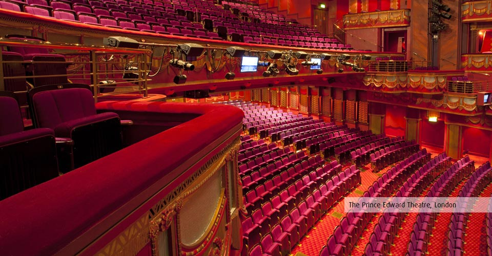 Rester rails and box fronts at the Prince Edward Theatre, London