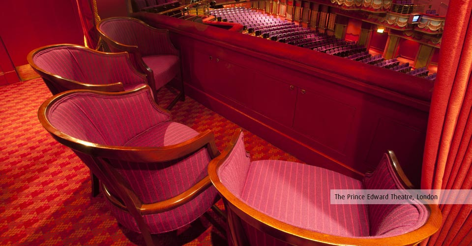Box chairs in the Prince Edward Theatre, designed and built by Kirwin & Simpson