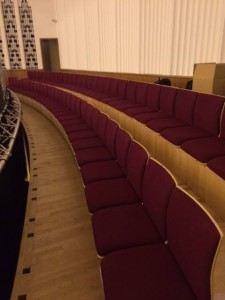 Removable shell chairs at the Liverpool Philharmonic