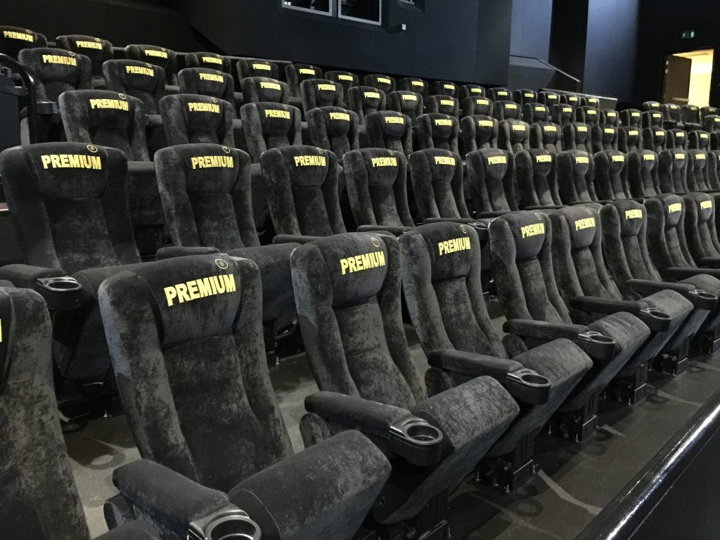 The new Empire Cinemas IMAX® Screen at Basildon with refurbished seating and embroidered seat numbers by kirwin & Simpson