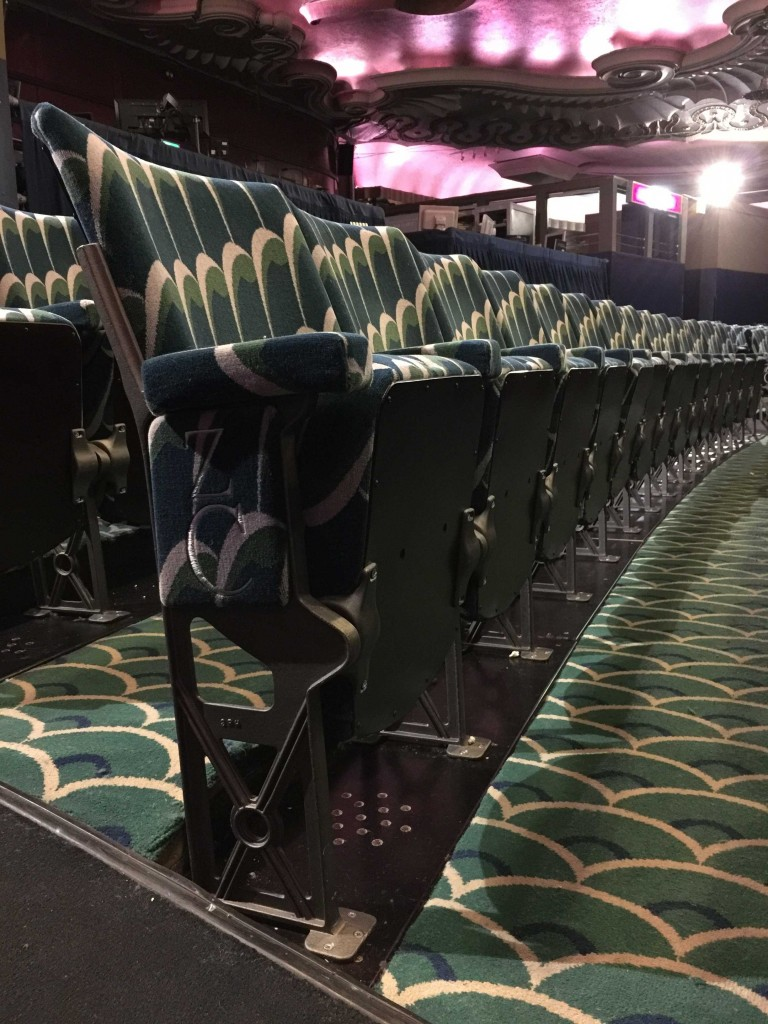A close-up view of the 1930s style chairs recently installed in the Apollo Theatre by Kirwin & Simpson