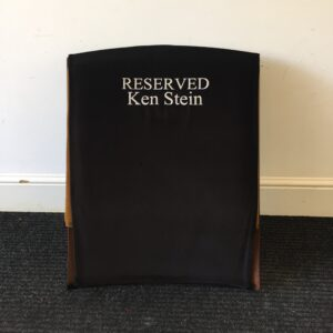 Black Monogrammed Reserved Chair Cover by Kirwin & Simpson Seating