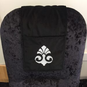 Black Chair Cover with pocket and white monogram