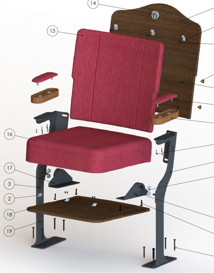 Exploded Chair Component Render by Kirwin & Simpson Seating