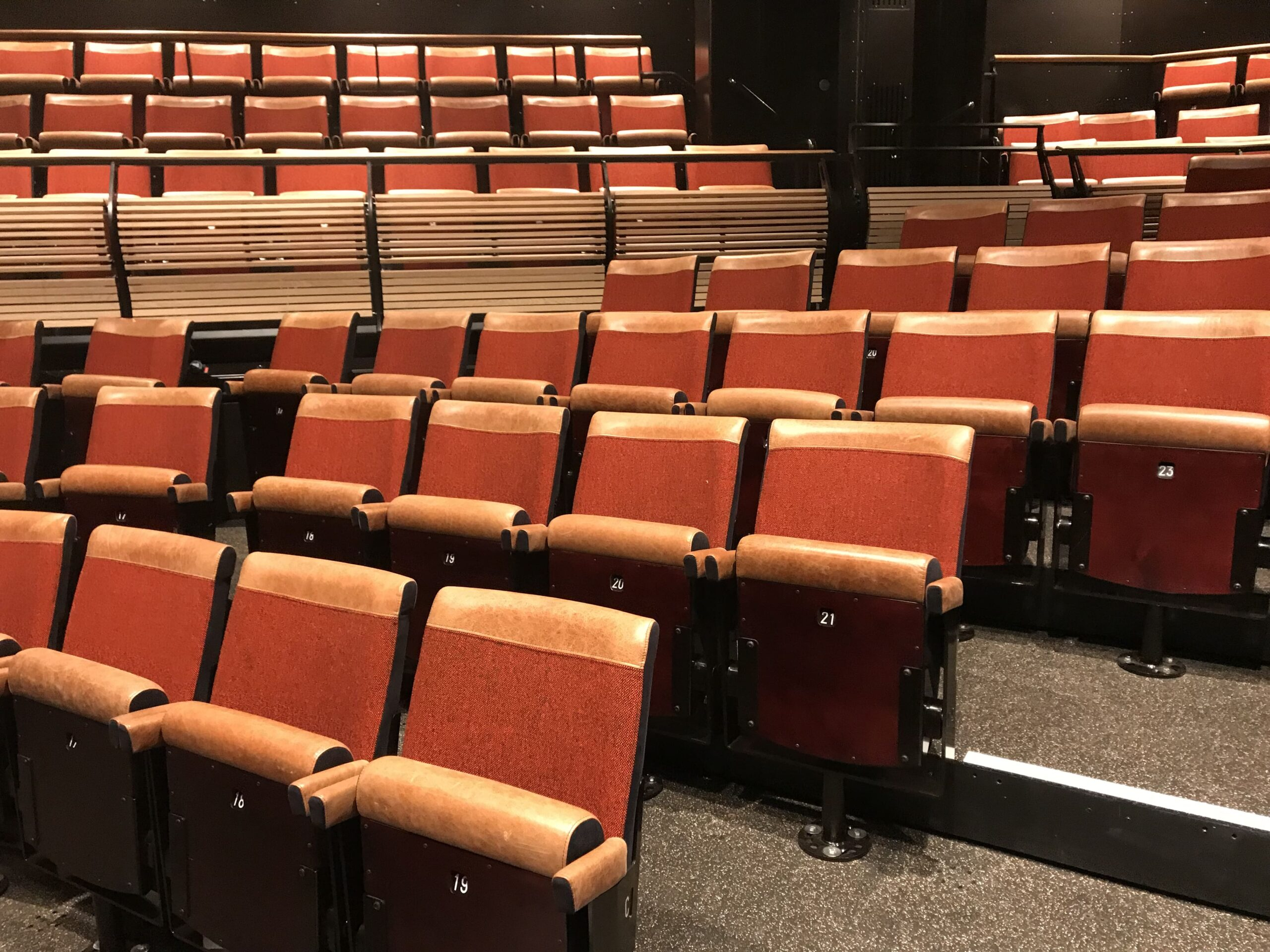 image of leather pedestal chairs at the bridge theatre in london by kirwin and simpson seating