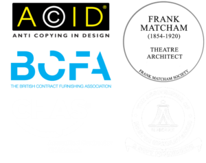 Kirwin & Simpson are members of Anti Copying in Design, BCFA, CHAS, Association of Master Upholsterers, and the Frank Matcham Society