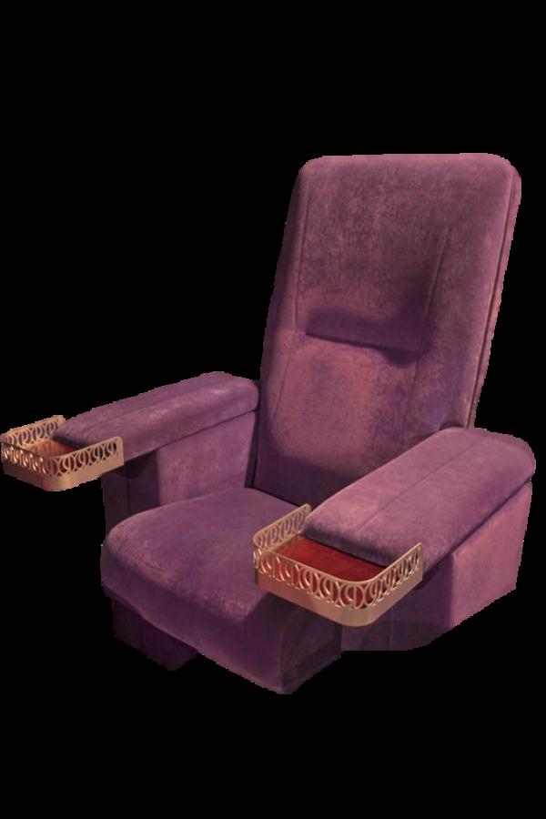 Purple Velvet Pullman Cinema Chair with custom cupholder for Regal Cinema UK